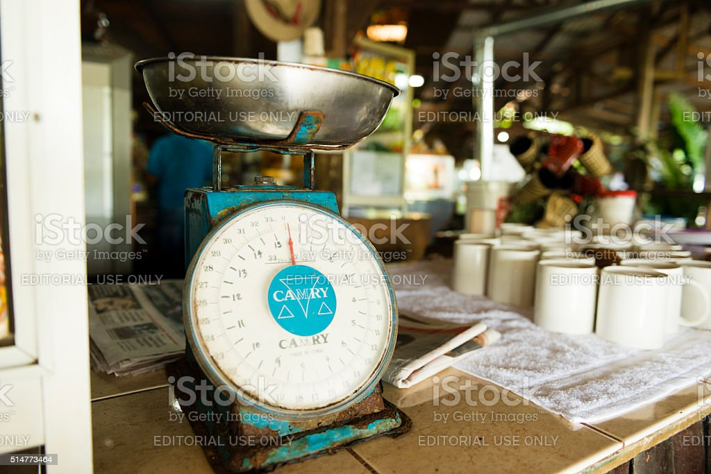 Old Fashioned Scale Used to Weigh Fruit in Costa Rica stock photo