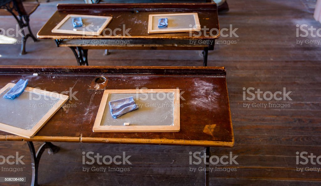 old fashioned school room stock photo