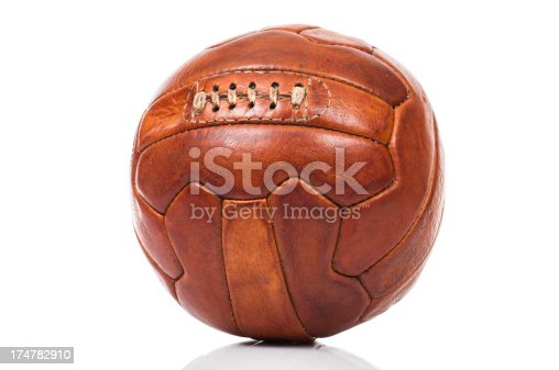 Retro style old fashioned soccer ball isolated on white with its reflection