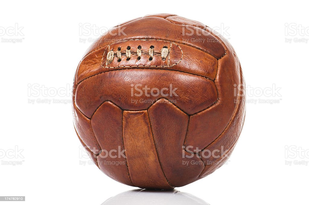 Old fashioned soccer ball stock photo