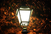 Old fashioned street lamp in the dark