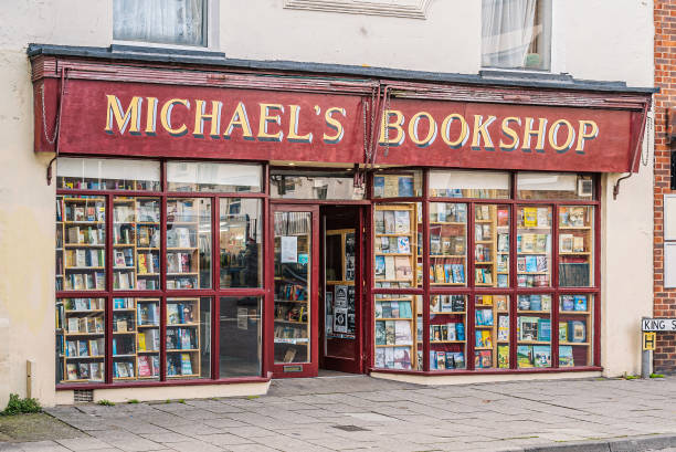 Old fashioned style bookshop, selling secondhand and new stock plus local history books with maps some of which are published by the shop. stock photo