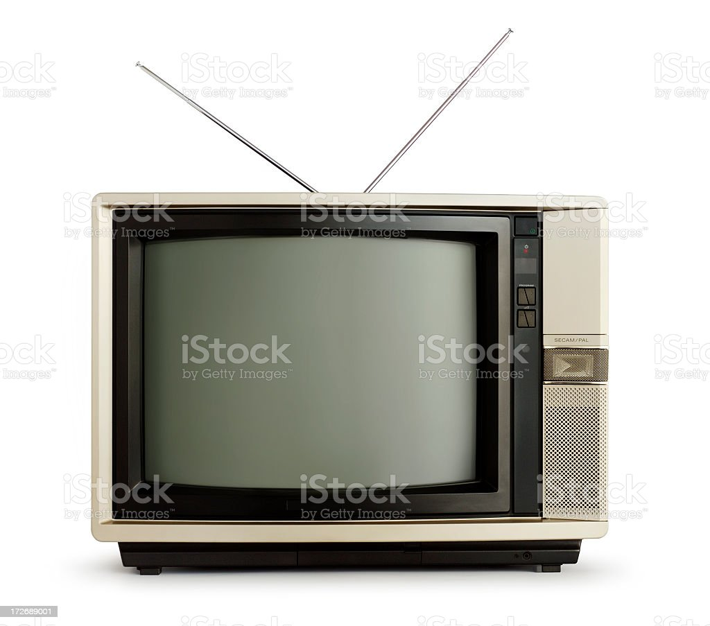 Old fashioned television set with an aerial on top stock photo
