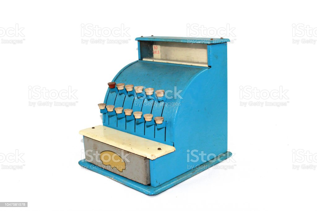 Old Fashioned Toy Till in Blue on White Background stock photo