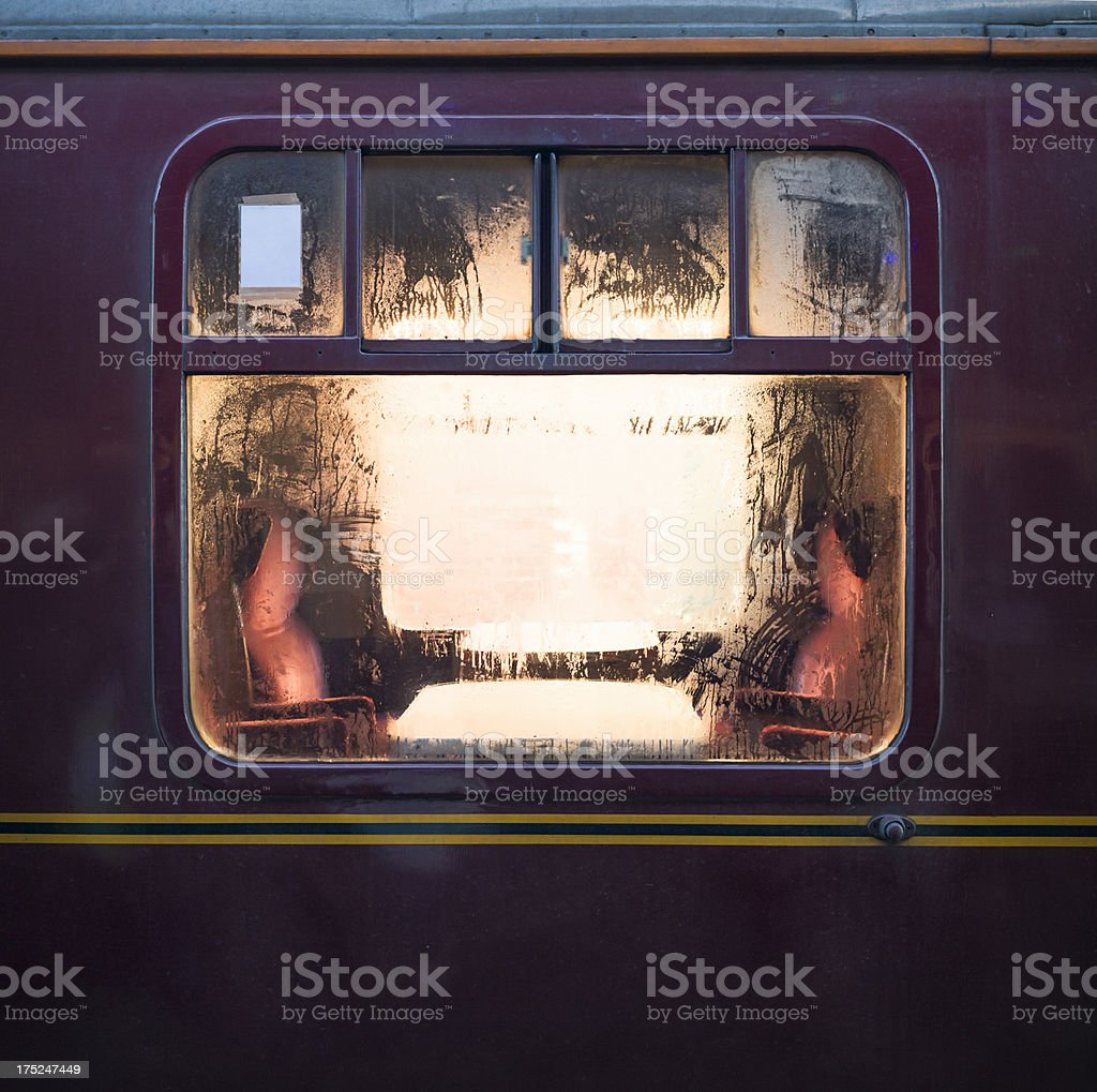 Old Fashioned Train Carriage Window stock photo