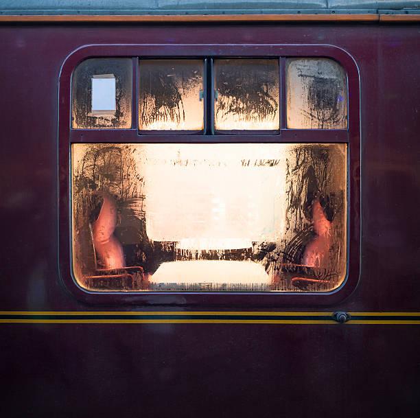 old fashioned train carriage window - järnvägsvagn tåg bildbanksfoton och bilder