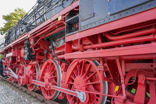 Picture shows an old fashioned train in Germany.