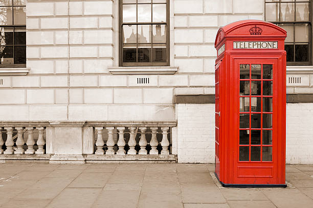 Old fashioned UK Rote Telefon box in London, Whitehall – Foto