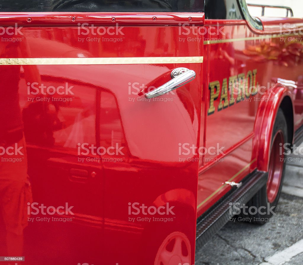 Old Fashioned Vintage Auto Red Firetruck royalty-free stock photo