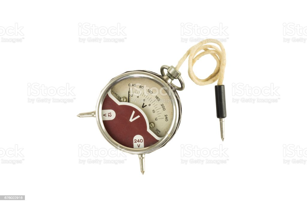Old fashioned voltmeter isolated stock photo