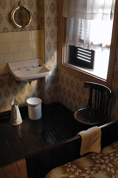 Old Fashioned Washbasin With Water Buckets Bedroom Stock
