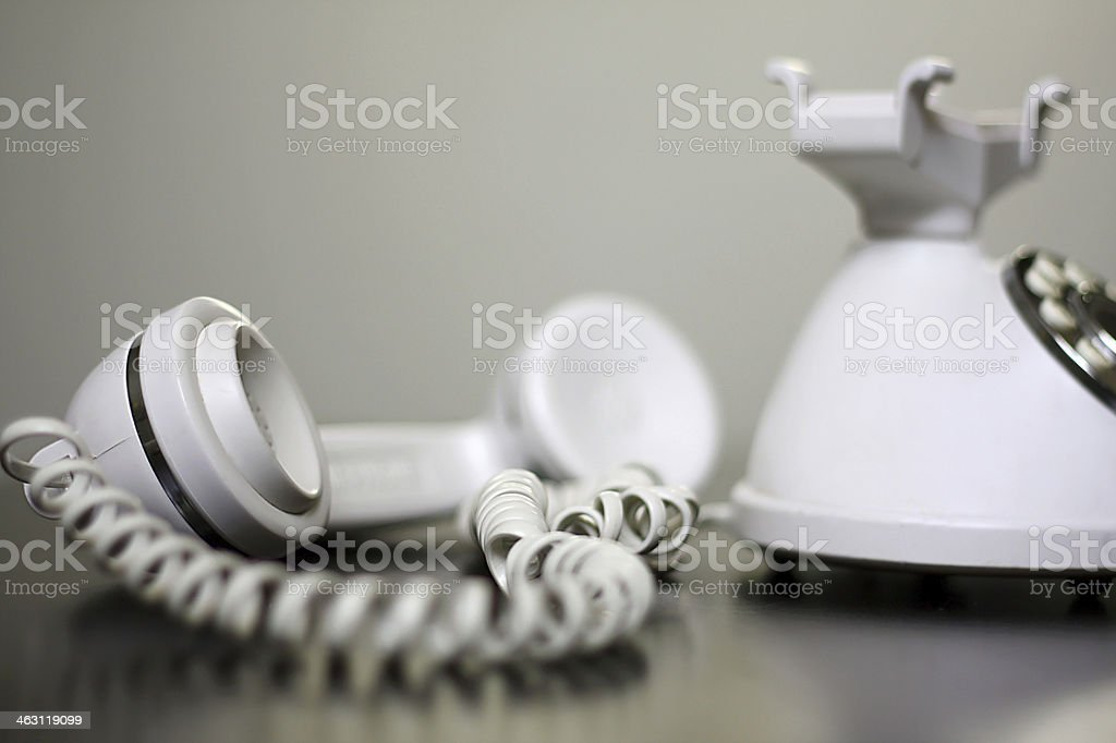 Old Fashioned White Telephone off the Hook stock photo