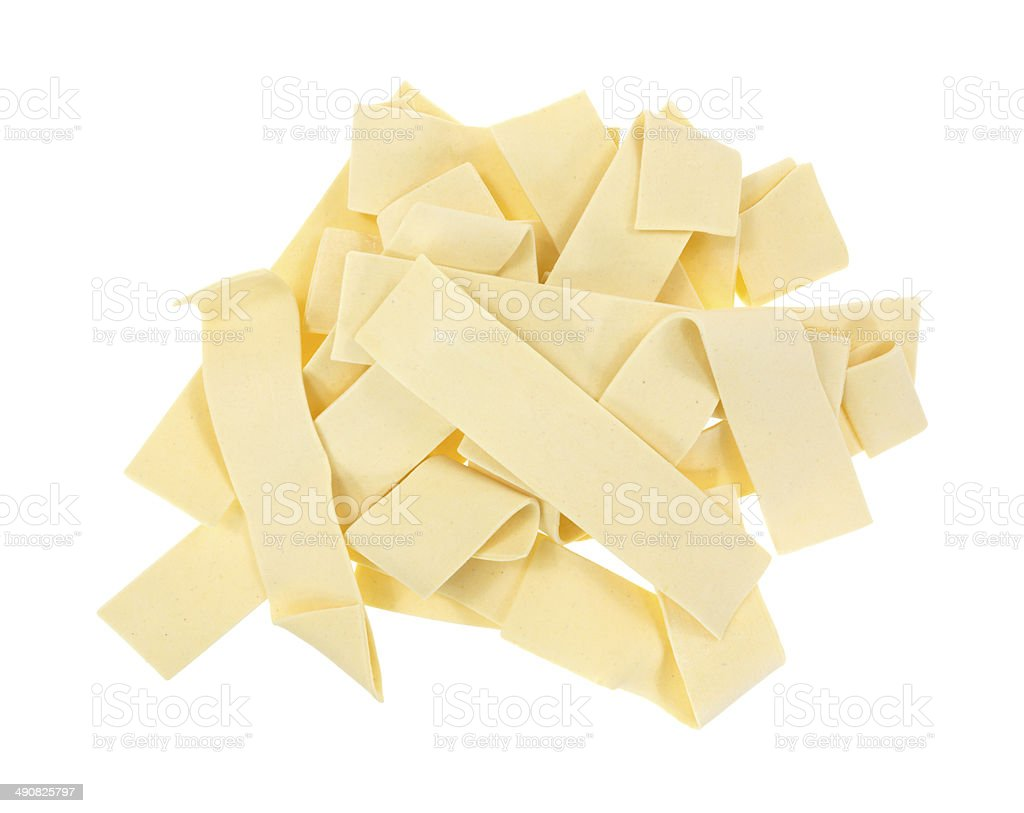 Old fashioned wide egg noodles stock photo