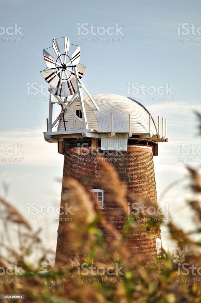 old fashioned windmill stock photo