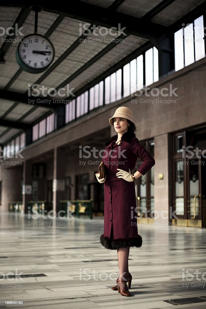 old fashioned woman stock photo