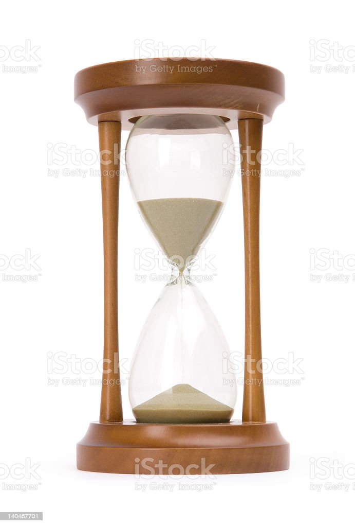 Old fashioned wood and glass sand timer stock photo