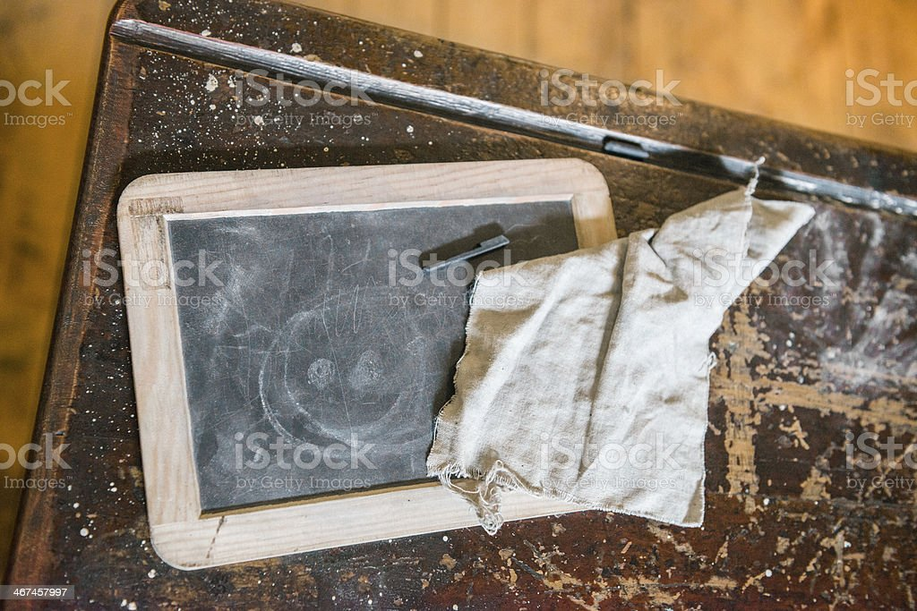 Old Fashioned Wooden Desk With Chalk Tablet stock photo