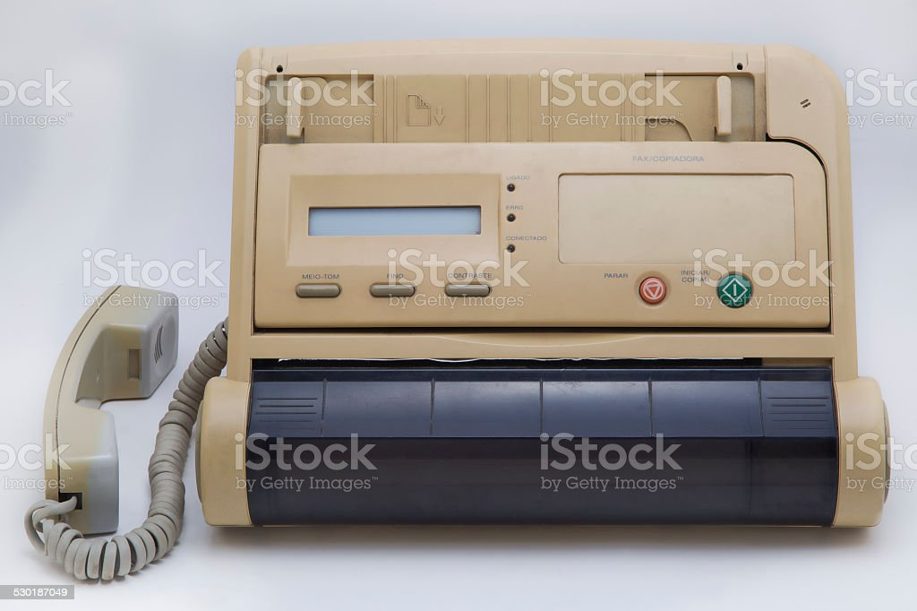 Old fax machine stock photo