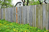 istock Old fence on a farm in the village 637662356
