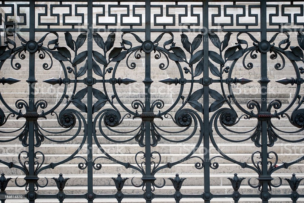 Old fence - Wrought Iron stock photo