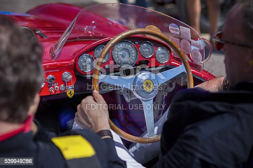 Siena, Siena Italy - May 21, 2016: Mille Miglia 2016 Old Ferrari Mille Miglia race in while you move from Siena Province Siena
