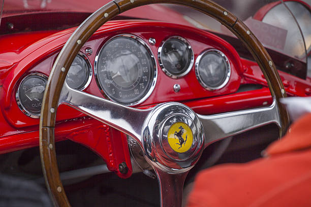 Old Ferrari Casciana Pisa Italy - May 16, 2015: Mille Miglia 2015 Old Ferrari car  Mille Miglia race in while you move from Cascina ferrari stock pictures, royalty-free photos & images
