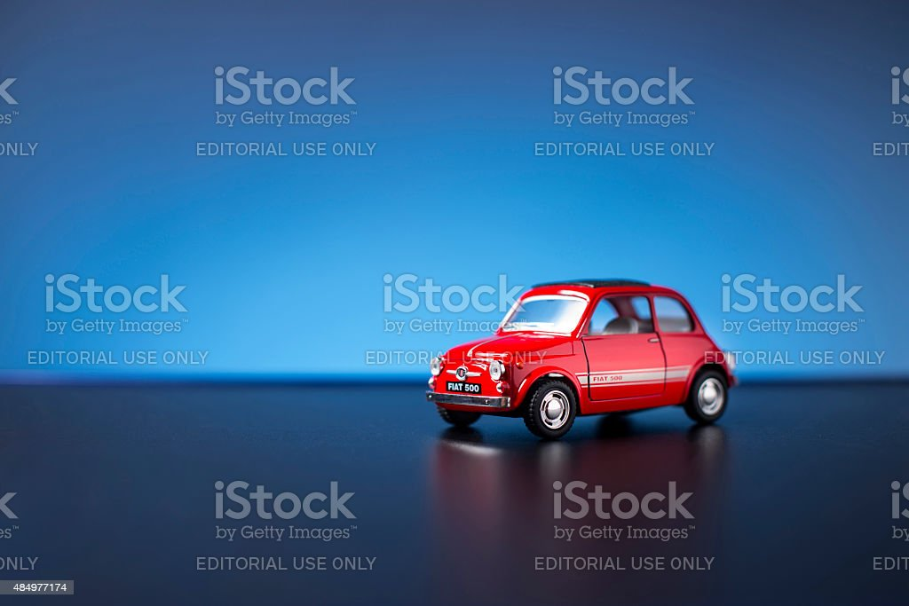 Old Fiat 500 toy car stock photo