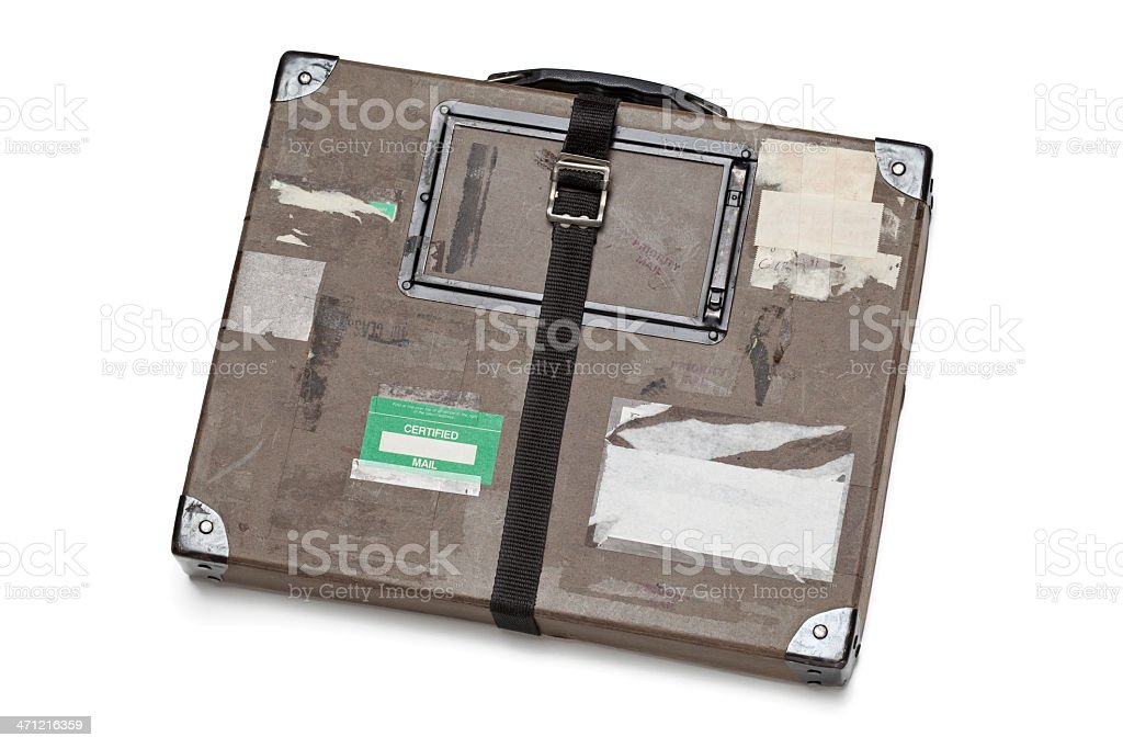 Old Fiberboard Shipping Case Showing Damage From Use stock photo