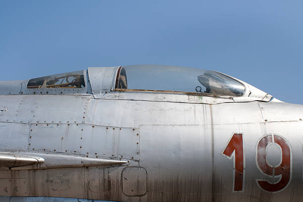 Old fighter jet stock photo