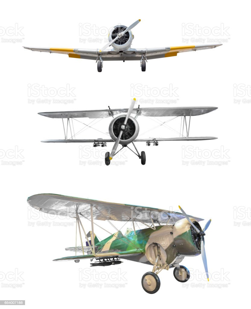 Old fighter plane collection isolated on white background stock photo