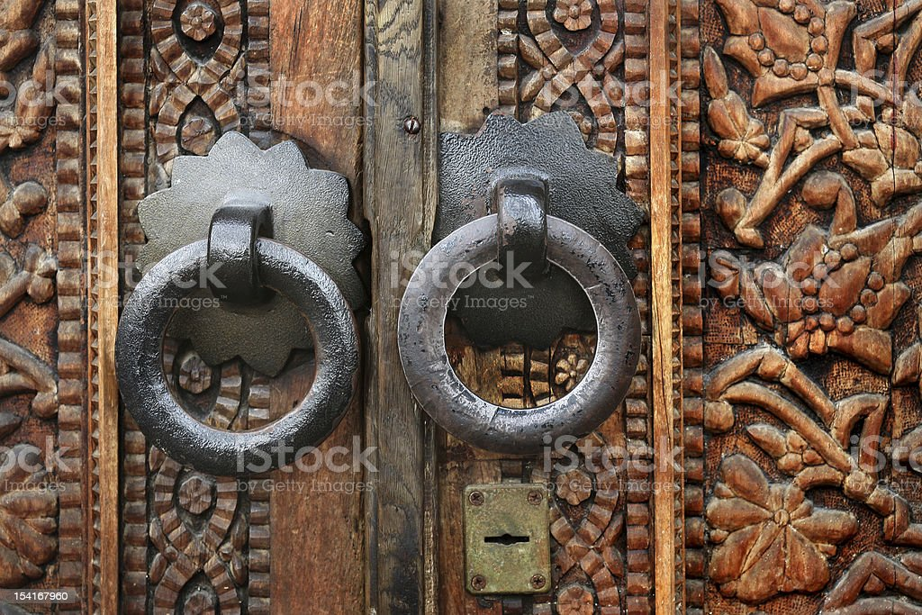Old figured wooden door stock photo