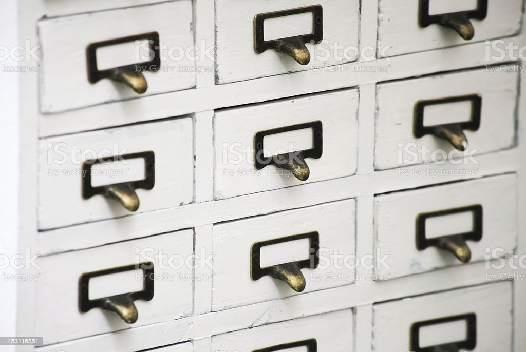 Old file card cabinet royalty-free stock photo