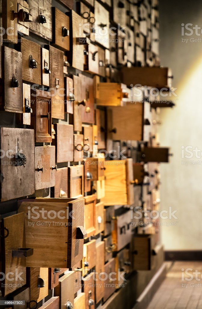 old filing cabinet stock photo