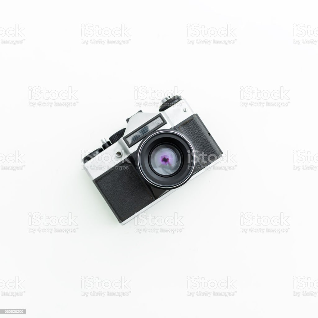 Old film Camera. Flat lay, Top view – zdjęcie