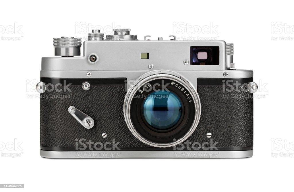 Alte film-Kamera, isoliert auf weiss – Foto