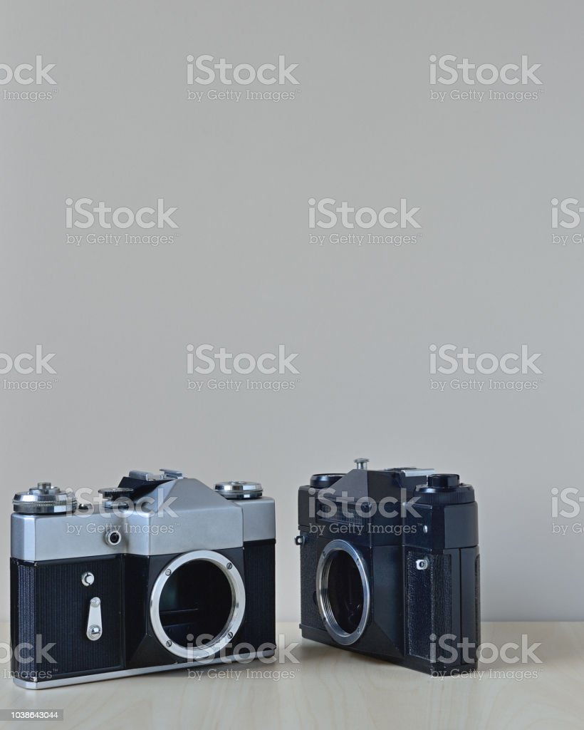 Old film cameras stock photo
