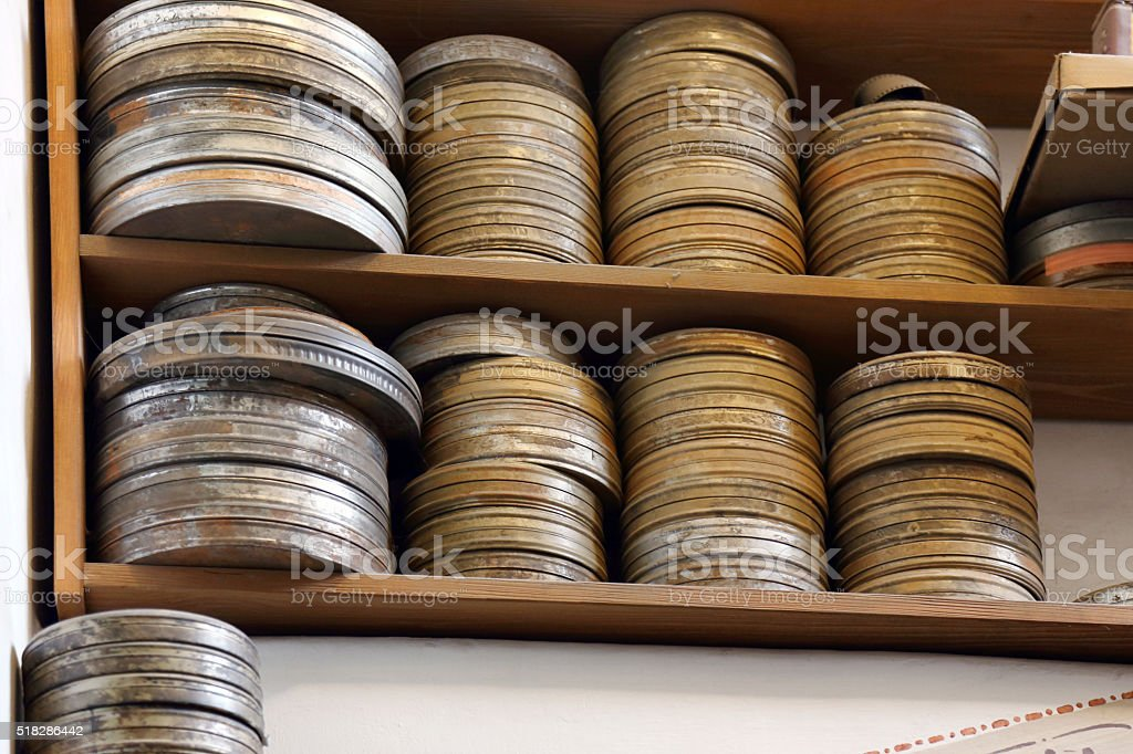 Old film reels stock photo