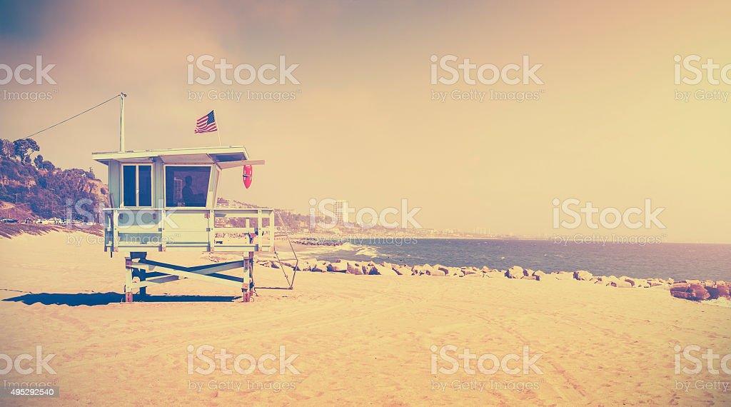 Old film retro stylized lifeguard tower, Santa Monica, USA stock photo