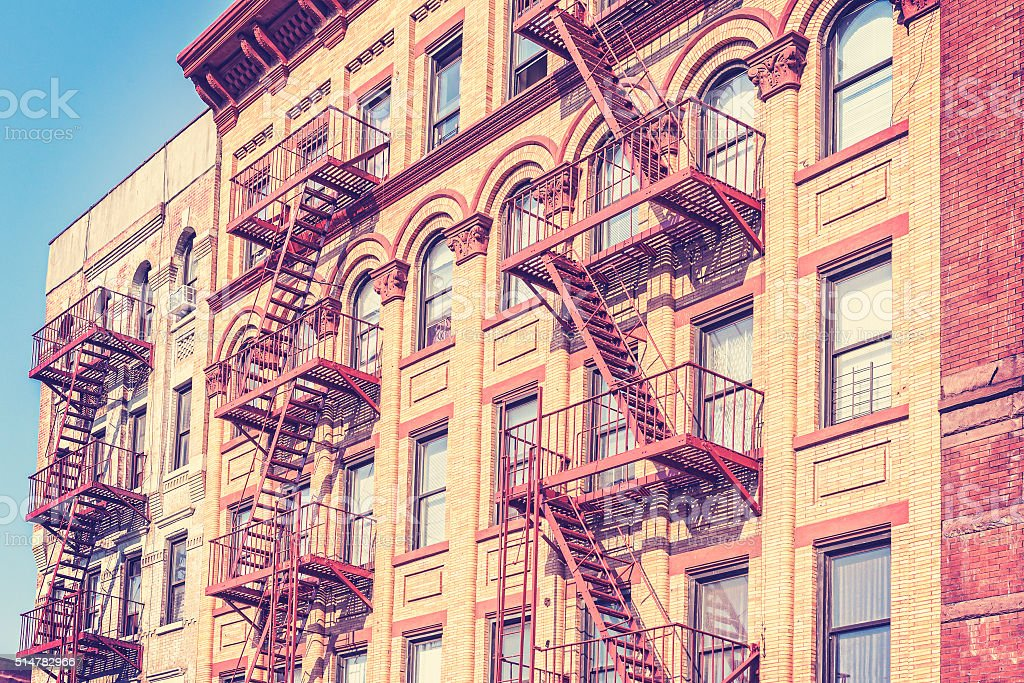 Old film retro toned photo of New York building. stock photo