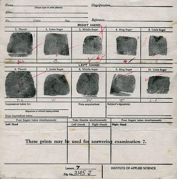 old fingerprint chart - fingerprint stock photos and pictures