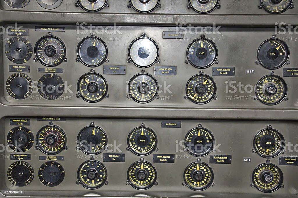 old fire control system for high-powered guns bildbanksfoto