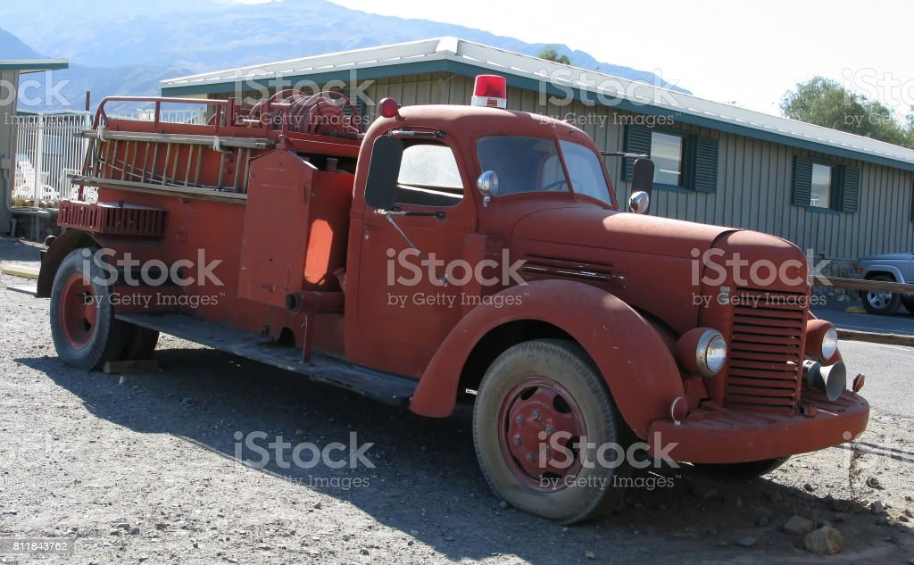 Old fire engine in Death valley stock photo