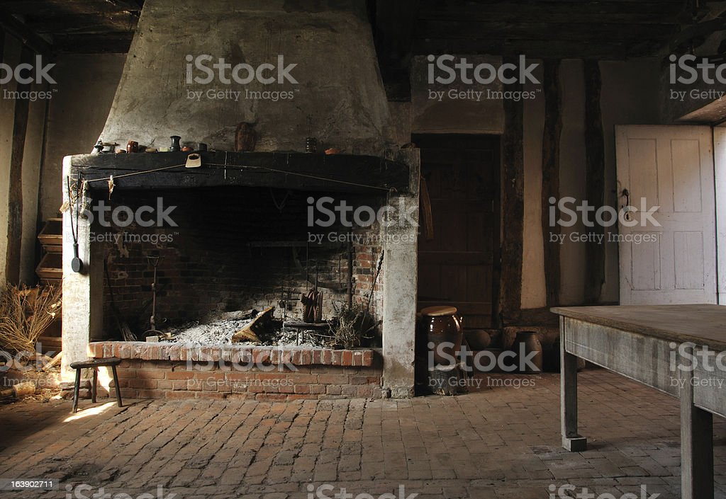 Old fire place in Tudor bakehouse royalty-free stock photo