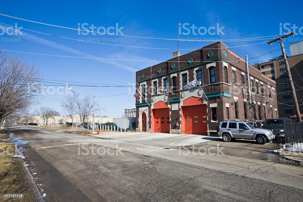 Old Fire Station Chicago West Side royalty-free stock photo