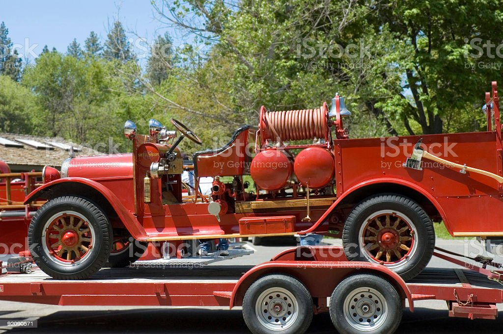 antique firefighters truck 1940\'s year, on parade in California