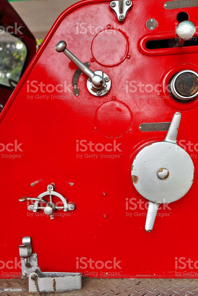 Old fire truck retired from service-Quezon Park. Dumaguete-Philippines. 0505 stock photo