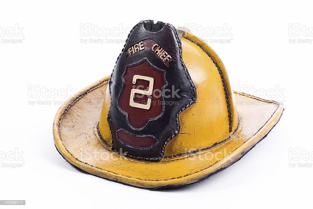 Old firefighter helmet stock photo