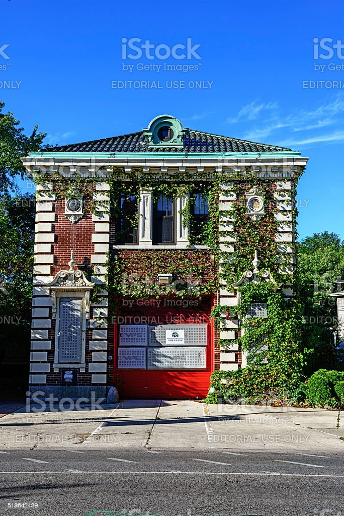 Old Firehouse in Edgewater, Chicago stock photo