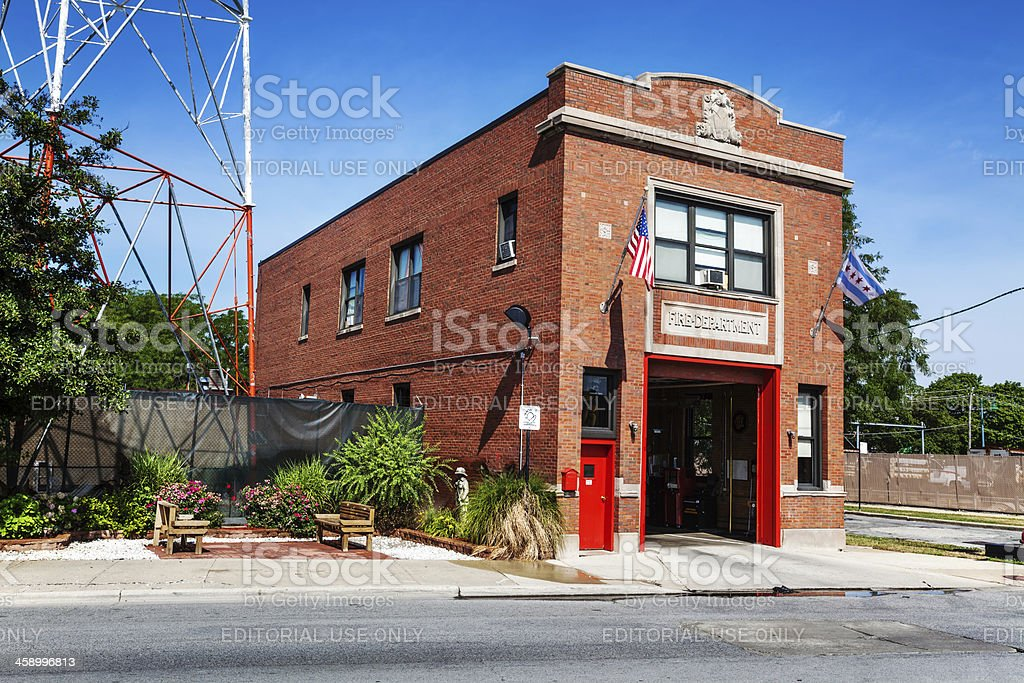 Old Firehouse with open door in Beverly, Chicago royalty-free stock photo