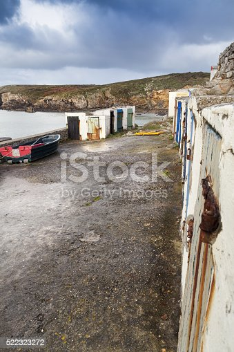 Old fisherman cabins coastline in france